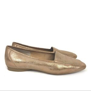 Donald Pliner Deedee Gold Leather Loafers